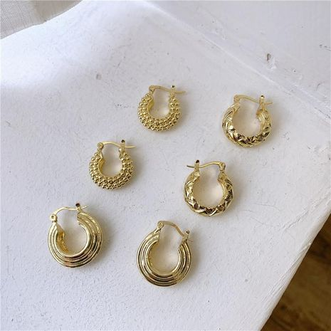 Exaggerated hoop round earrings female retro premium texture ring earrings NHYQ185657's discount tags