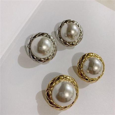 Simple high-end simple button shape pearl earrings NHYQ185661's discount tags