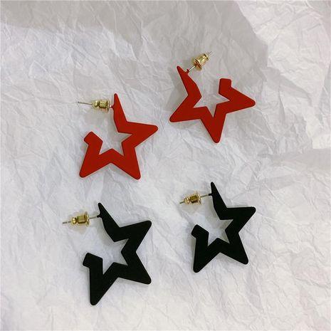 s925 silver pin geometric retro pentagram star studs simple metal texture hollow earrings women NHYQ185672's discount tags