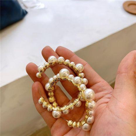 Vintage style pearl hoop earrings NHYQ185682's discount tags