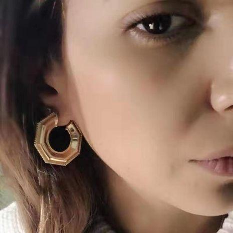 Geometric irregular earrings women's high-grade metallic polygon earrings NHYQ185691's discount tags