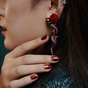 Earrings retro big red rose flower winding pink diamond snake body exaggerated earrings women NHYQ185697's discount tags