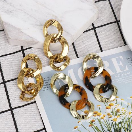 New alloy simple Lianhe earrings temperament wild metal earrings NHJJ185398's discount tags