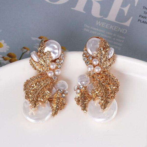 Fashion gold-plated retro earrings pearl drop earrings NHJJ185405