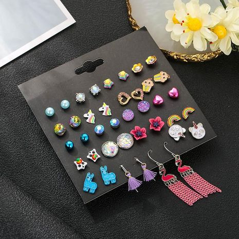 New Fashion Jewelry Earrings Set of 20 Pairs of Square Square Zirconia Stud Earrings NHSD185616's discount tags