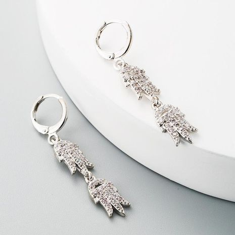 Fashion earrings copper inlaid white zircon earrings female palm shaped Korean simple long earrings NHLN185722's discount tags