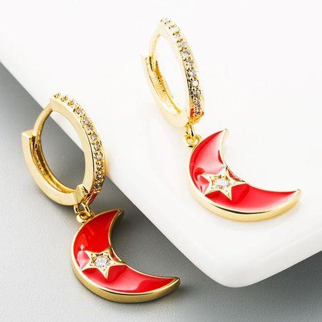 Simple earrings dripping oil moon stars copper zircon rainbow earrings women NHLN185729's discount tags