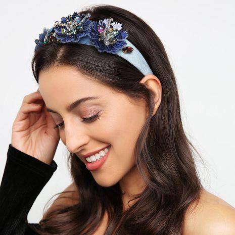 Line retro headband jewelry tide flower gem diamond luxurious wide-band headband NHMD185459's discount tags