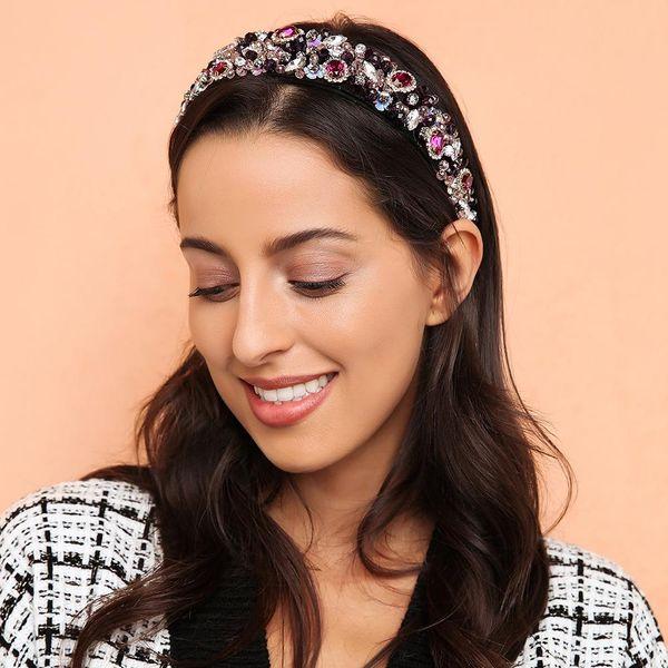 Pop full diamond colorful wild luxury headband retro geometric headwear accessories NHMD185460