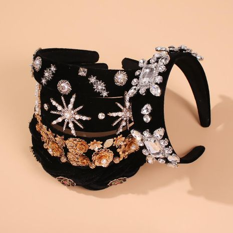 Vintage diamond pearl headband fashion jewelry wholesale NHMD185465's discount tags