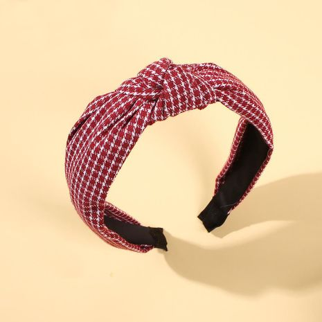 Tela a cuadros de moda Sweet Hair Hoop Cross Wide Edge Hoop Hair Accessories NHMD185473's discount tags