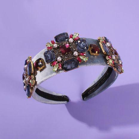 Headdress colored gem headband retro court style wide-edged headband NHMD185476's discount tags