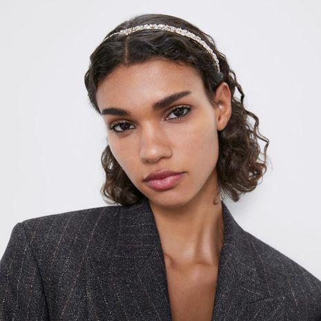 Rhinestone hair hoop female sweet white rhinestone flower headband hair crest narrow crown hair accessories NHMD185485's discount tags