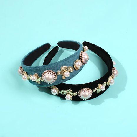 Headband female retro diamond flower pearl hairpin female headband exaggerated hair accessory headband NHMD185492's discount tags