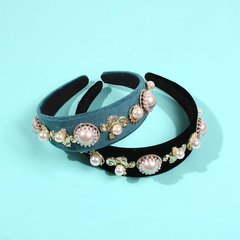 Headband female retro diamond flower pearl hairpin female headband exaggerated hair accessory headband NHMD185492