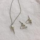Korean iron nails sharp earrings pearl sweater chain necklace women NHYQ185701