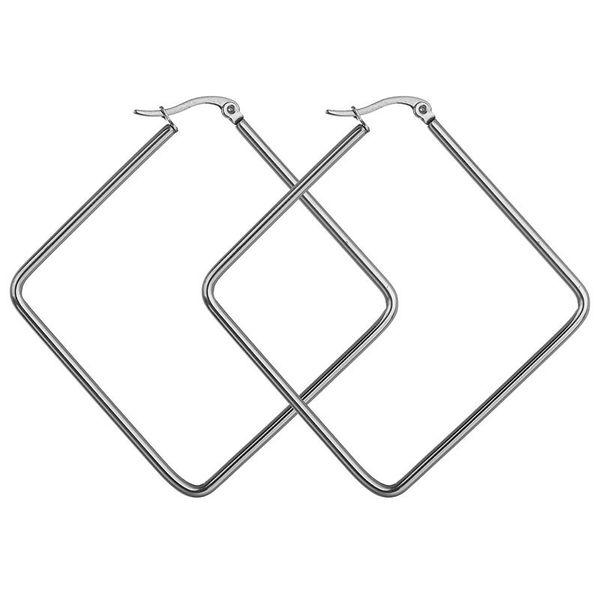 Titanium&Stainless Steel Simple Geometric earring  (Steel color 40mm)  Fine Jewelry NHHF1338-Steel-color-40mm