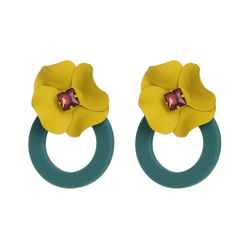 Imitated crystalCZ Fashion Flowers earring  yellow  Fashion Jewelry NHJJ5578yellow