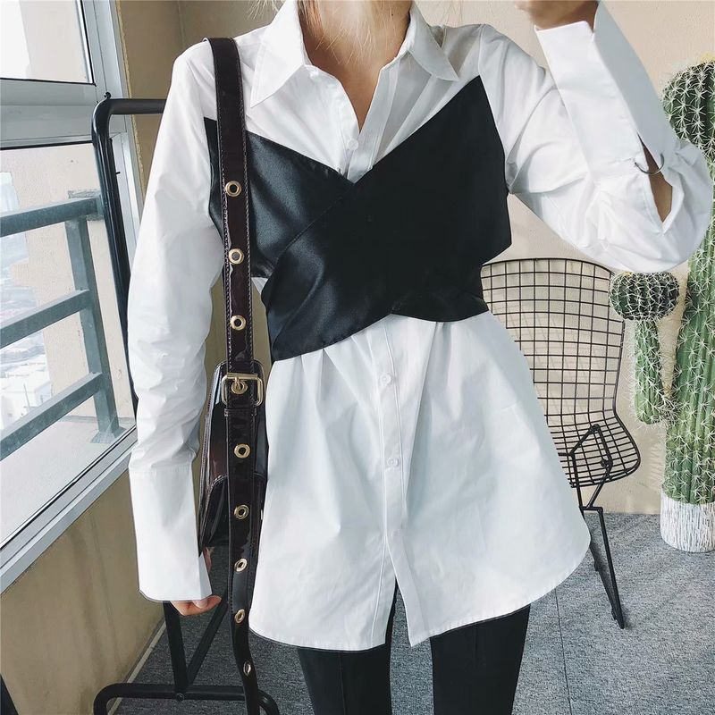 Cotton Fashion  shirt  (White-S)  Women Clothing NHAM7439-White-S