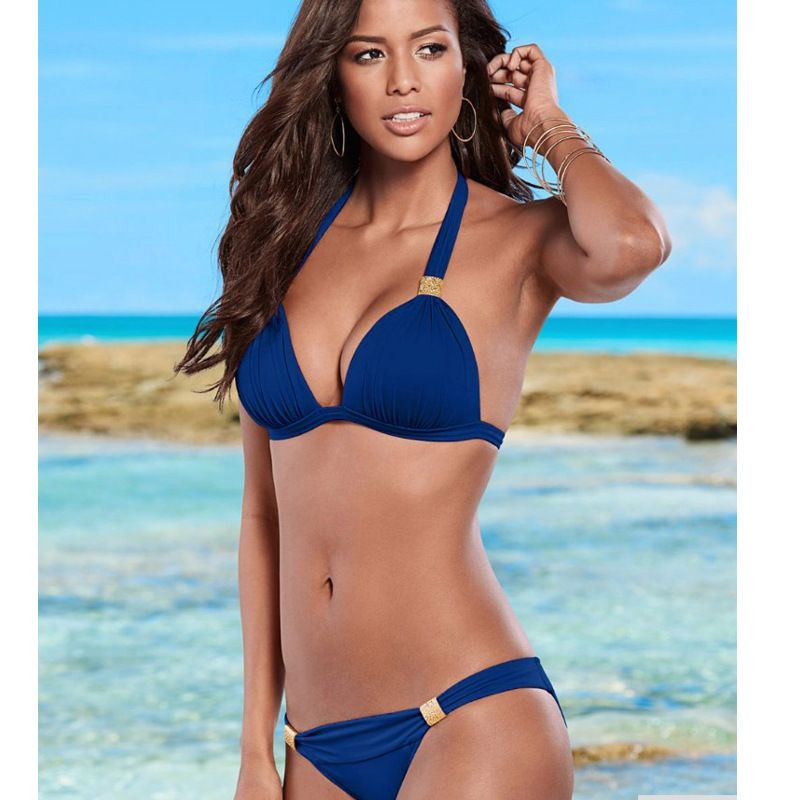 Polyester Fashion  Bikini  (Royal Blue-S)  Women Clothing NHHL0911-Royal-Blue-S