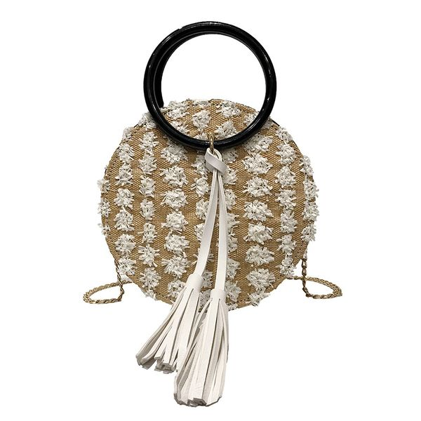 Polyester Korea bolso cesta handbag  (white)  Fashion Bags NHPB10411-white