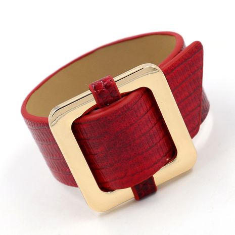 Leather Fashion Geometric bracelet  (red)  Fashion Jewelry NHHM0002-red's discount tags