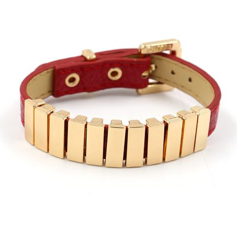 Leather Korea Geometric bracelet  (red)  Fashion Jewelry NHHM0003-red's discount tags