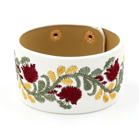 Leather Korea Flowers bracelet  (white)  Fashion Jewelry NHHM0007-white's discount tags