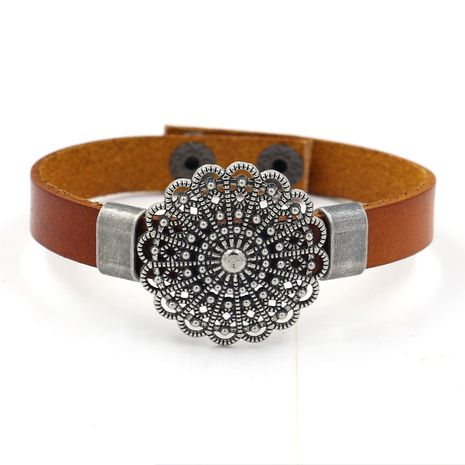 Leather Fashion Flowers bracelet  (black)  Fashion Jewelry NHHM0016-black's discount tags