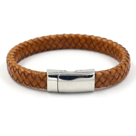 Leather Fashion bolso cesta bracelet  (Light Brown)  Fashion Jewelry NHHM0025-Light-Brown's discount tags