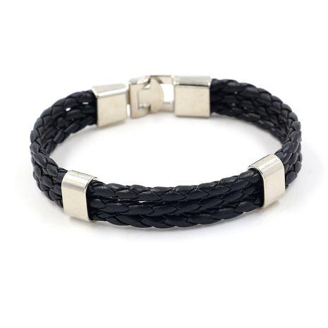 Leather Vintage bolso cesta bracelet  (black)  Fashion Jewelry NHHM0045-black's discount tags