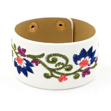 Leather Korea Flowers bracelet  (white)  Fashion Jewelry NHHM0047-white's discount tags