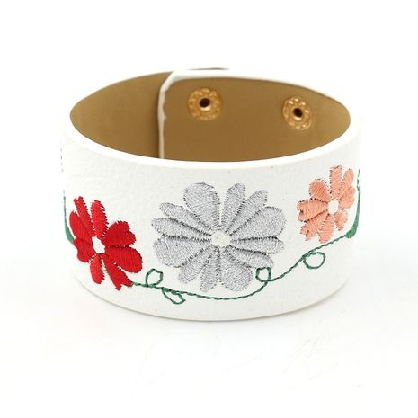 Leather Korea Flowers bracelet  (white)  Fashion Jewelry NHHM0050-white's discount tags