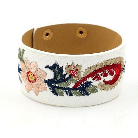 Leather Korea Flowers bracelet  (white)  Fashion Jewelry NHHM0060-white's discount tags