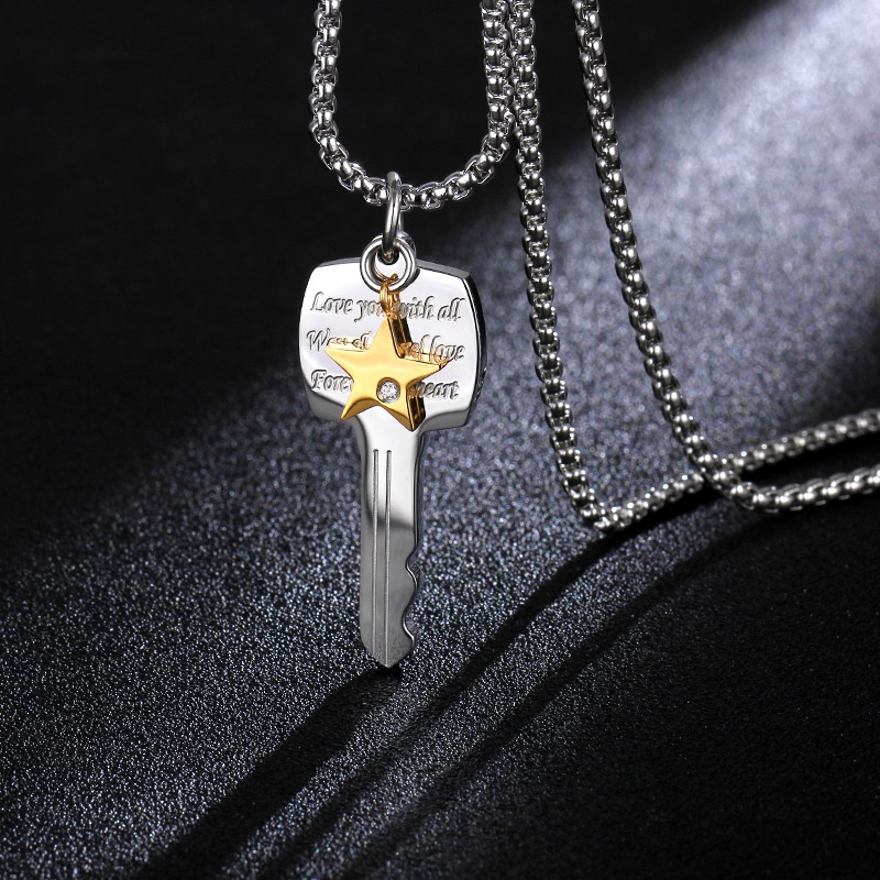 TitaniumStainless Steel Simple Geometric necklace  Steel color  Fine Jewelry NHIM1714Steelcolor