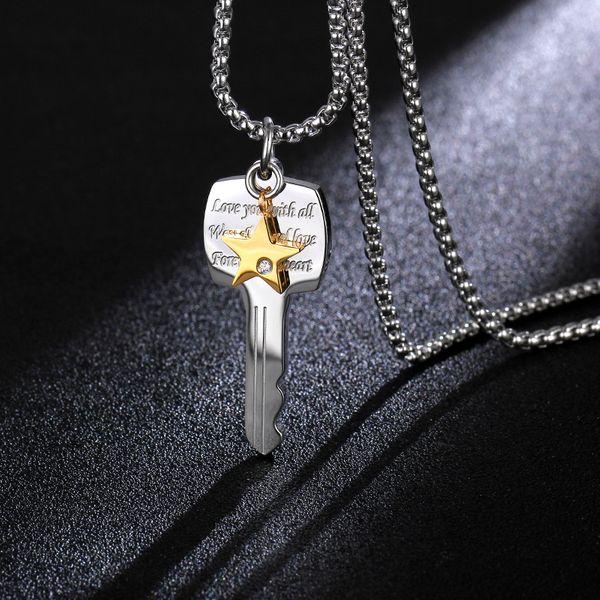 Titanium&Stainless Steel Simple Geometric necklace  (male)  Fine Jewelry NHIM1717-male