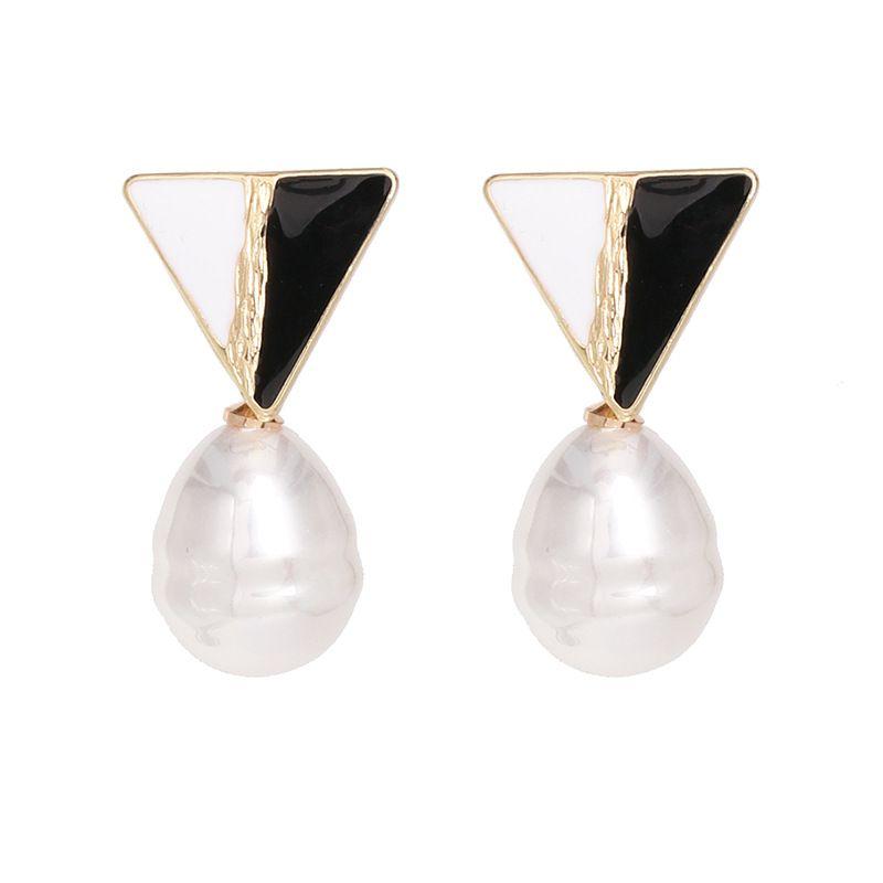 Alloy Fashion Flowers earring  Black and White  Fashion Jewelry NHJJ5603BlackandWhite