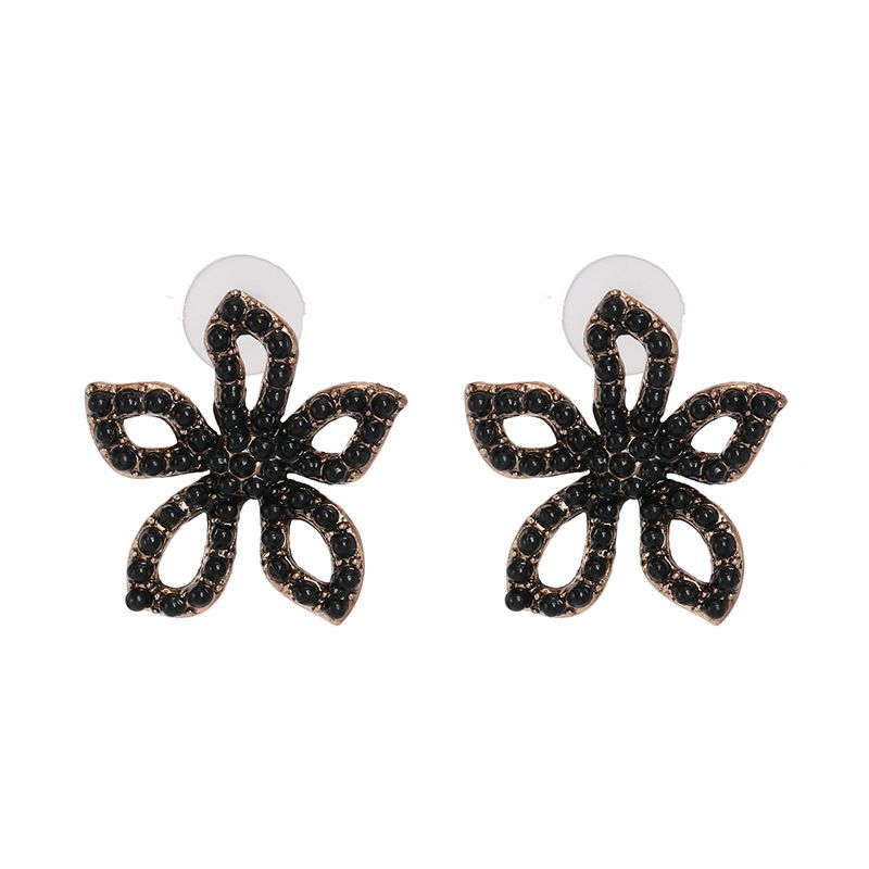 Alloy Fashion Flowers earring  (black)  Fashion Jewelry NHJJ5608-black