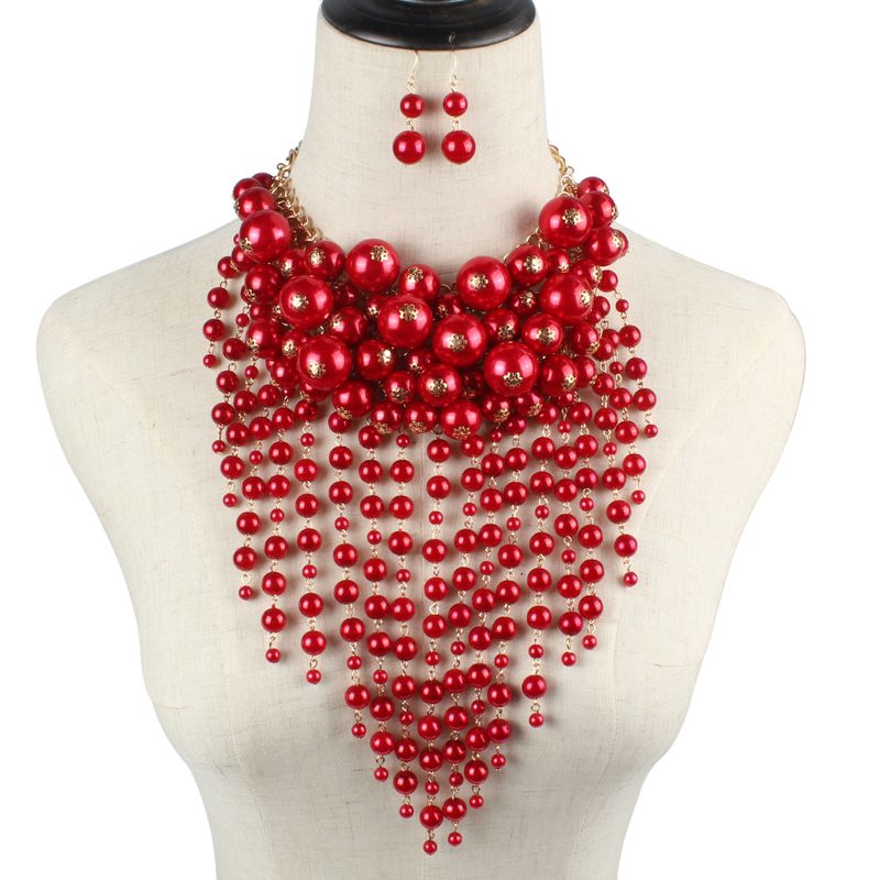 Beads Fashion Tassel necklace  red  Fashion Jewelry NHCT0478red