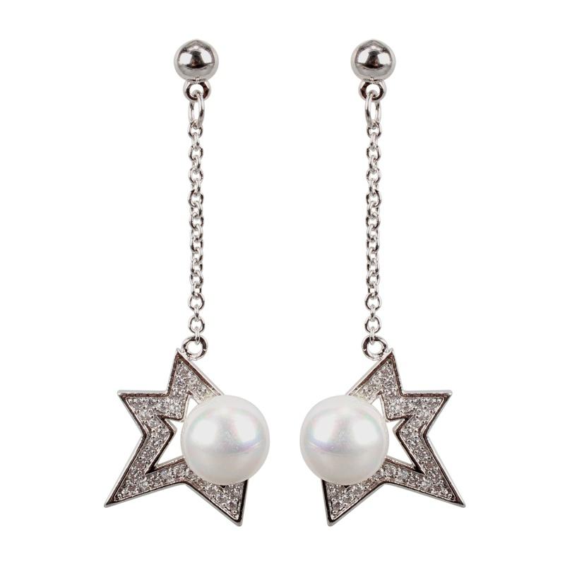 Copper Fashion Geometric earring  platinum  Fine Jewelry NHCT0487platinum