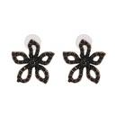 Boucle d39oreille Fleurs en alliage de mode noir Bijoux fantaisie NHJJ5608noir