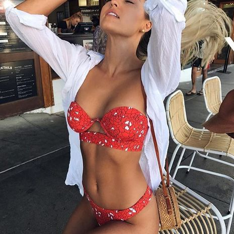 Maillot de bain en coton Fashion Bikini (rouge-S) NHHL1118-rouge-S's discount tags