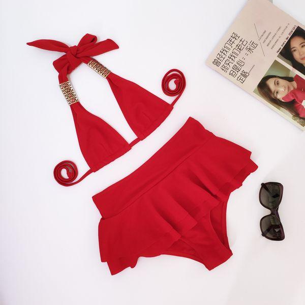 Polyester Fashion  Bikini  (red-S)  Swimwear NHHL1125-red-S