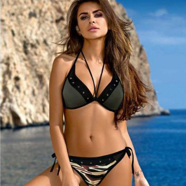 Polyester Fashion  Bikini  (Army Green-S)  Swimwear NHHL1208-Army-Green-S