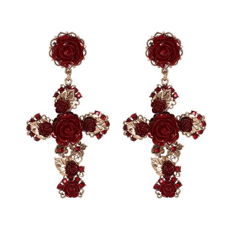 Alloy Fashion Cross earring  (red)  Fashion Jewelry NHJJ5613-red's discount tags
