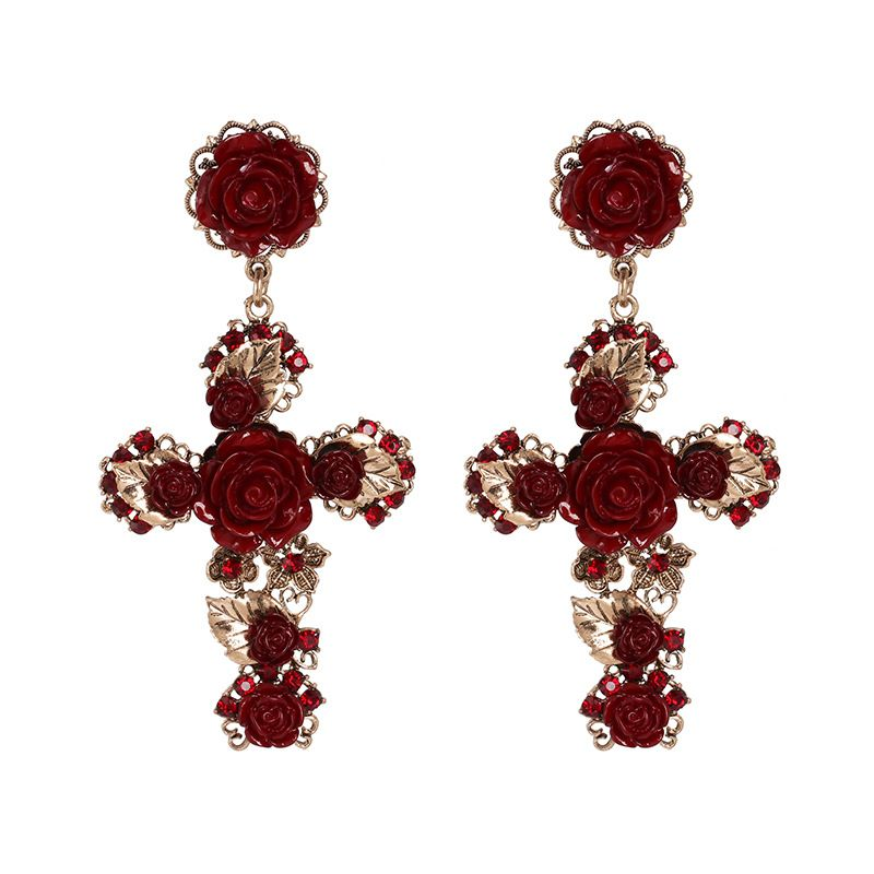 Alloy Fashion Cross earring  red  Fashion Jewelry NHJJ5613red