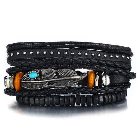 Leather Fashion Geometric bracelet  (GFH02-03)  Fashion Jewelry NHPJ0320-GFH02-03's discount tags