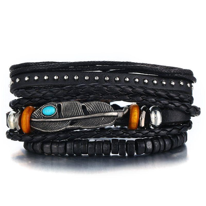 Leather Fashion Geometric bracelet  (GFH02-03)  Fashion Jewelry NHPJ0320-GFH02-03