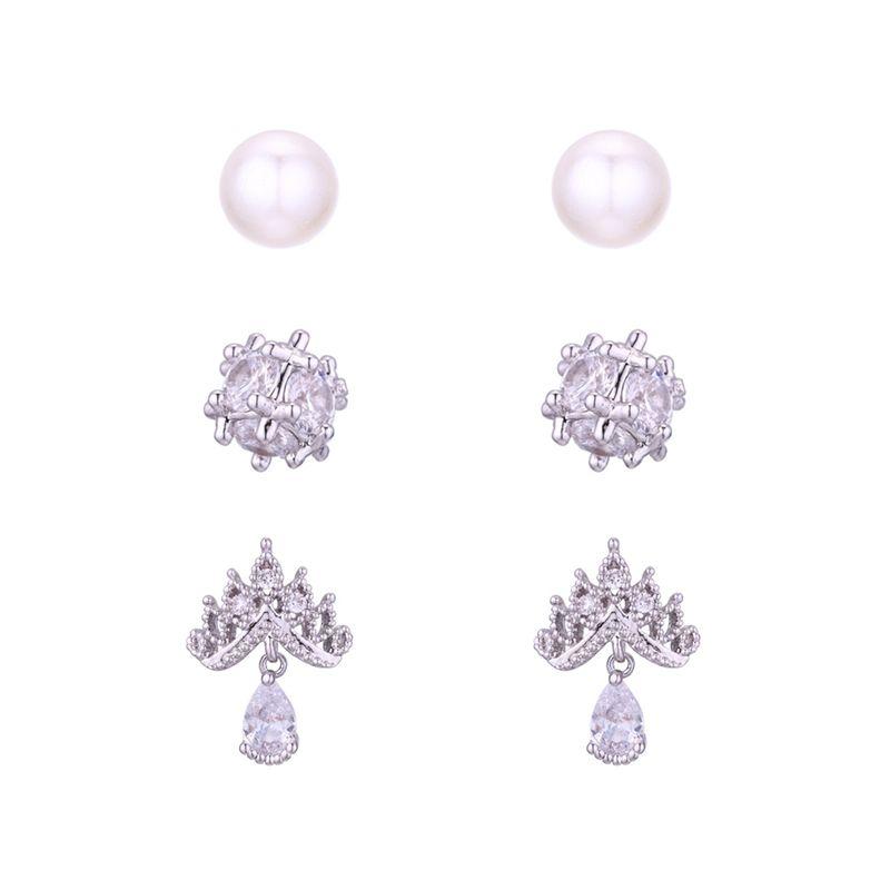 Korean version of the trendy simple S925 alloy needle set earrings Platinum NHNPS6186