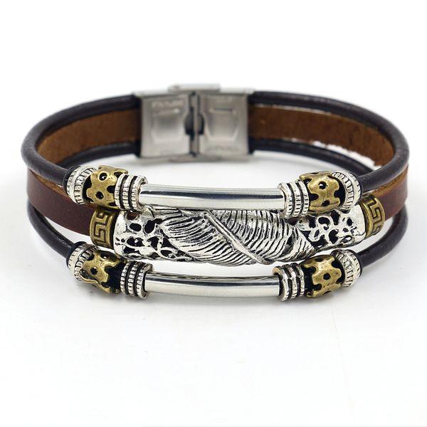 Leather Fashion Geometric bracelet  (brown)  Fashion Jewelry NHHM0061-brown